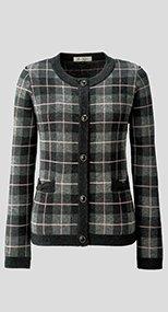 81800 en joie(アンジョア) 柔らかい肌触りで目の詰まった暖かいチェック柄のニットジャケット 93-81800