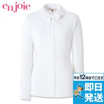 en joie(アンジョア) 01170 [通年]ふんわりオーラの丸襟に優しい印象のリボン付き長袖ブラウス 93-01170