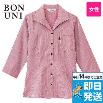 34202 BONUNI(ボストン商会) 七分袖イタリアンカラーシャツ(女性用) チェック