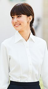 en joie(アンジョア) 01135 首元をきれいにみせ優美なシルエット長袖シャツ 93-01135