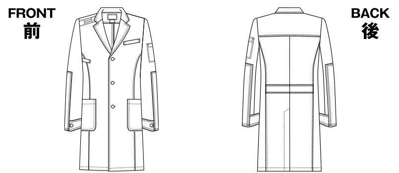 1537PR FOLK(フォーク)×Dickies メンズシングルコート(男性用)のハンガーイラスト・線画