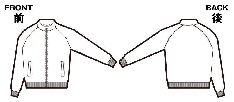 85-1412 ドライジャージー ラグランスリーブ ジャケット(パイル)(7.2オンス )のハンガーイラスト・線画