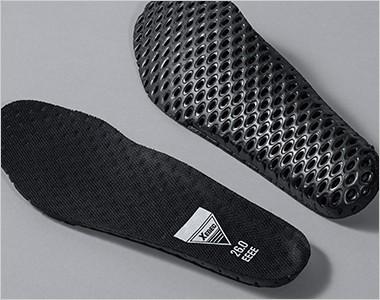 穴あきのEVAインソール。優れたクッション性と共に、靴内部のムレを軽減します。