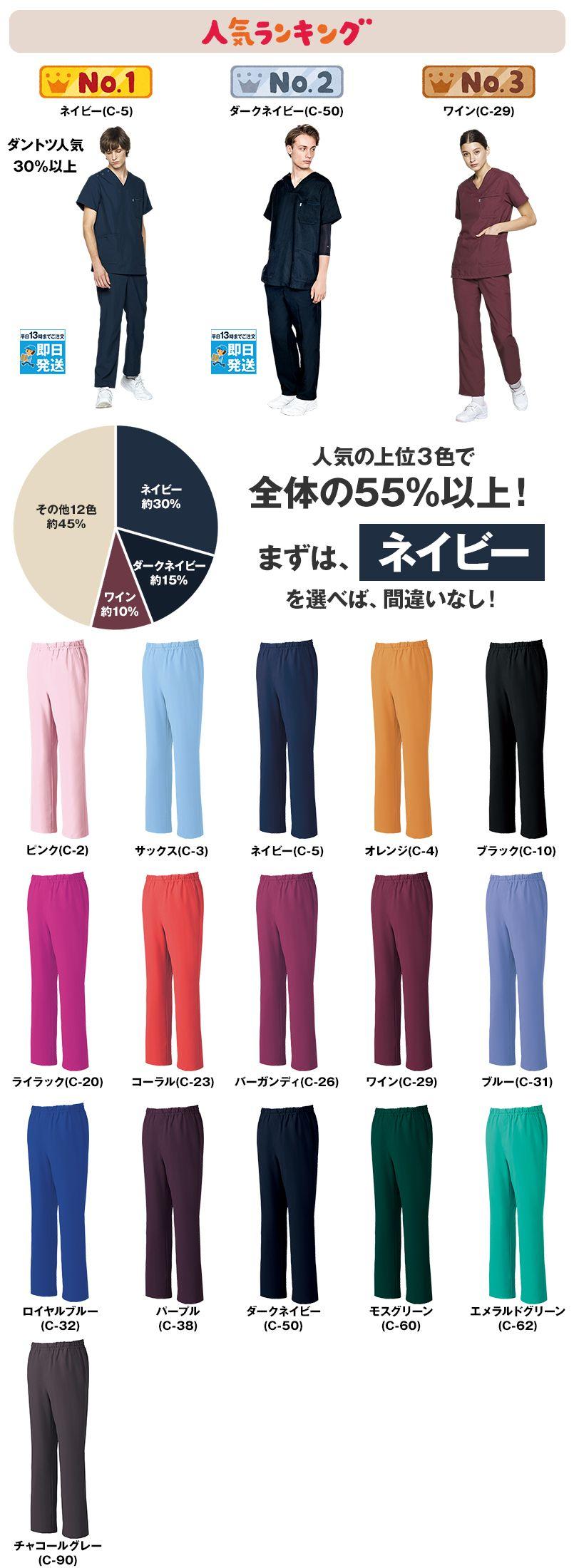 MZ-0019 ミズノ(mizuno) スクラブパンツ(男女兼用)股下マチ 色展開