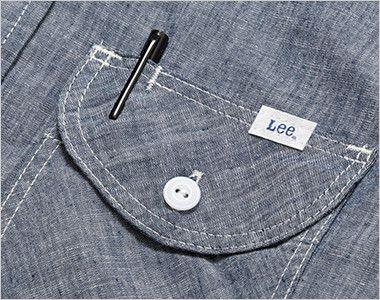 LCS43004 Lee シャンブレーシャツ/七分袖(女性用) フラップにあるペン挿し口