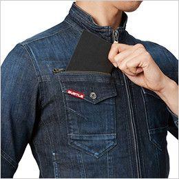 バートル 531 ストレッチデニムジャケット(男女兼用) レベルブック収納ポケット(深さ21cm