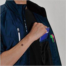 バートル 7316 PUコーティング半袖防寒ブルゾン(男女兼用) 内ペンポケット