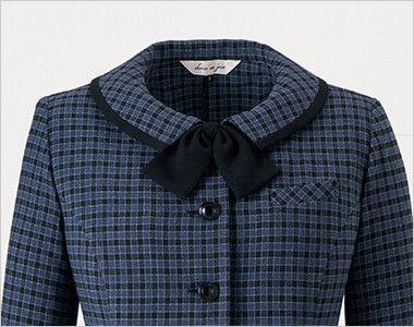 en joie(アンジョア) 21010 寒い時期にオススメ!落ち着きあるチェック柄の長袖オーバーブラウス(リボン付) かわいい黒リボン(無料で同梱します)