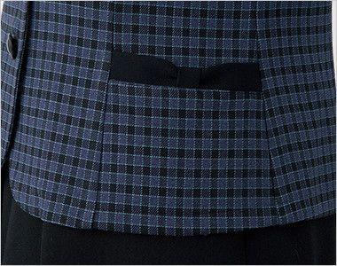 en joie(アンジョア) 21010 寒い時期にオススメ!落ち着きあるチェック柄の長袖オーバーブラウス(リボン付) リボンのような両脇ポケット
