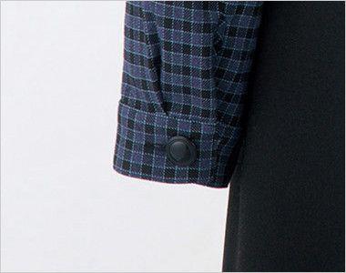 en joie(アンジョア) 21010 寒い時期にオススメ!落ち着きあるチェック柄の長袖オーバーブラウス(リボン付) 袖口はボタンで閉められます