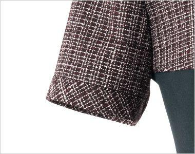 en joie(アンジョア) 61430 1枚でも絵になるノーブルな上質ワンピース(女性用) ツイード×無地 切り返しの袖口