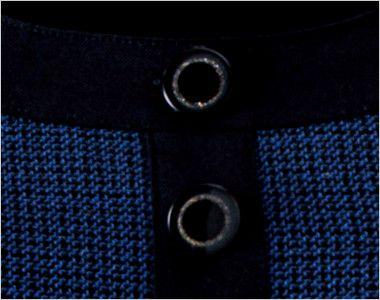 en joie(アンジョア) 61730 大人可愛いシルエットで魅せるブルーツイードのAラインワンピース(女性用) きらきら光るリングデザインの黒ボタン