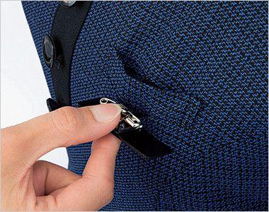 en joie(アンジョア) 61730 大人可愛いシルエットで魅せるブルーツイードのAラインワンピース(女性用) ネームプレートとペンなどを区分け収納できる名札ポケットと左胸ポケット