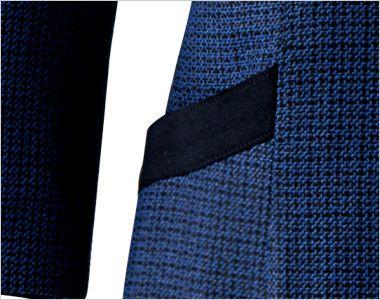en joie(アンジョア) 61730 大人可愛いシルエットで魅せるブルーツイードのAラインワンピース(女性用) 黒パイピングでおしゃれな斜めのポケット