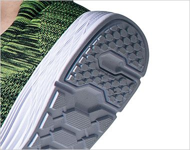 ジーベック 85408 超軽量ニットセフティシューズ 樹脂先芯 靴底カラーは全色ホワイトで統一しているので、床面等の汚れを気にする職種や屋内作業、内装業にオススメです。