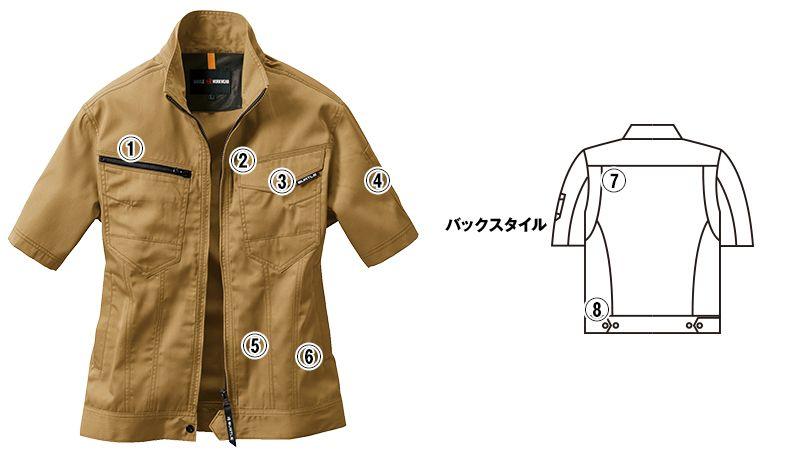 バートル 1716 [春夏用]T/Cライトチノ半袖ジャケット(男女兼用) 商品詳細・こだわりPOINT