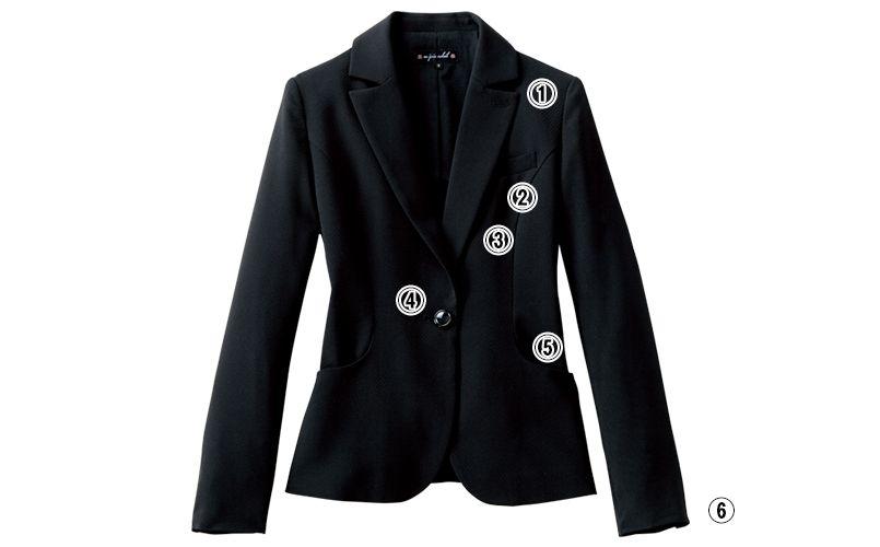 en joie(アンジョア) 86300 スマートでかわいらしいスーツスタイルのジャケット 無地 商品詳細・こだわりPOINT