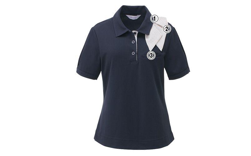 ESP403 enjoy マリン風ドットの爽やかアクセントが魅力的なオフィスポロシャツ(スカーフ付) 無地 商品詳細・こだわりPOINT
