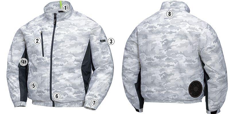ジーベック XE98005SET [春夏用]空調服セット 迷彩長袖ブルゾン ポリ100% 商品詳細・こだわりPOINT