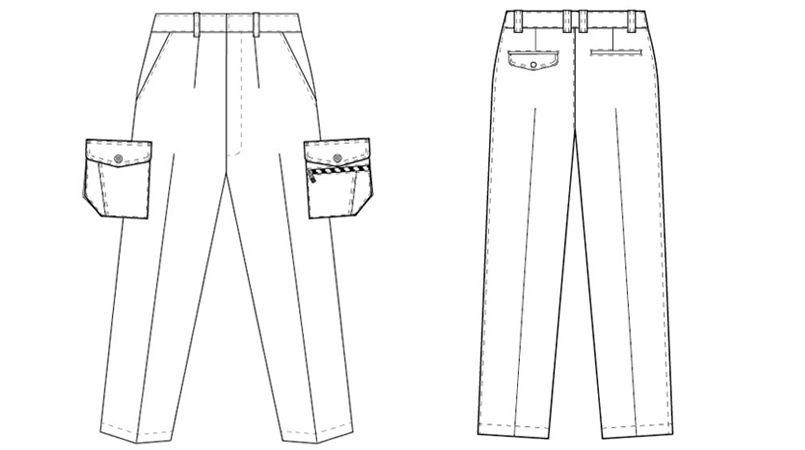 AZ3221 アイトス 帯電防止ツイルカーゴパンツ(1タック) ハンガーイラスト・線画