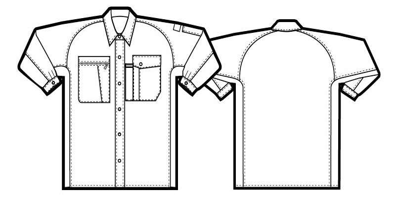 AZ5365 アイトス エコワーカークール シャツ/長袖(薄地) ハンガーイラスト・線画