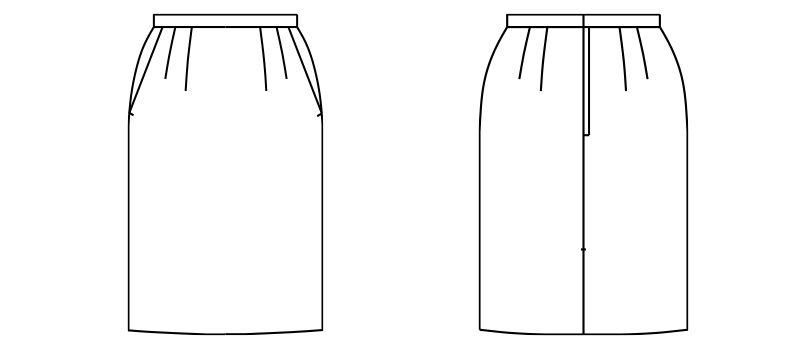 FS2004L FACEMIX/ALBA(アルバ) ストレッチスカート(女性用) 無地 ハンガーイラスト・線画