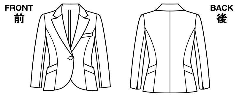 LJ0737 BONMAX/フレキシー ニットジャケット 無地 ハンガーイラスト・線画