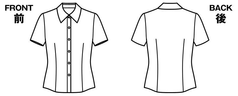RB4531 BONMAX/リサール 形態安定で上質な肌触りのシンプルな半袖ブラウス ハンガーイラスト・線画