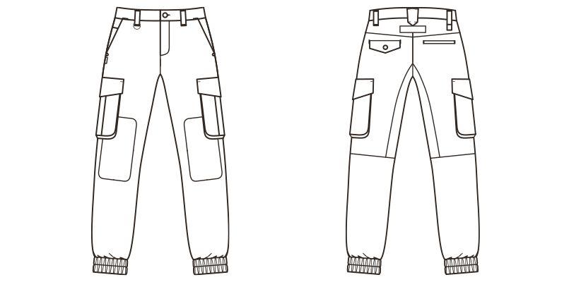 RP6906 ROCKY ツイルジョガーカーゴパンツ(男女兼用) ハンガーイラスト・線画