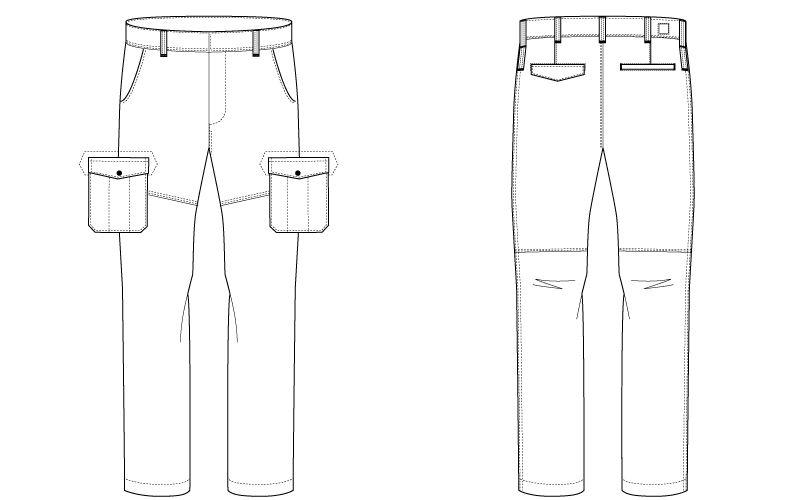 バートル 1502 ヘリンボーン&T/Cソフトツイルカーゴパンツ(男女兼用) ハンガーイラスト・線画