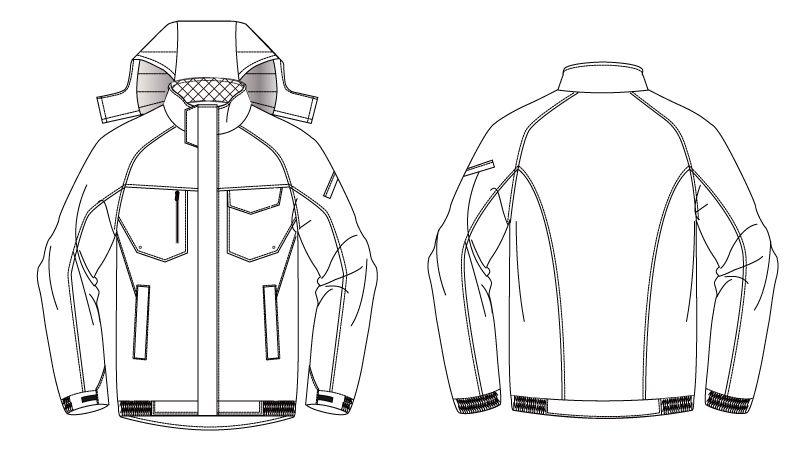 バートル 7210 [秋冬用]サーモトロン防寒ブルゾン(大型フード付)(男女兼用) ハンガーイラスト・線画
