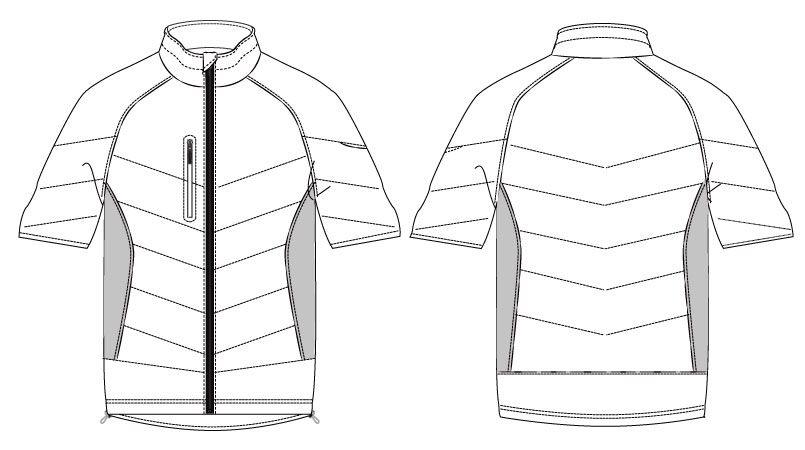 バートル 7316 PUコーティング半袖防寒ブルゾン(男女兼用) ハンガーイラスト・線画