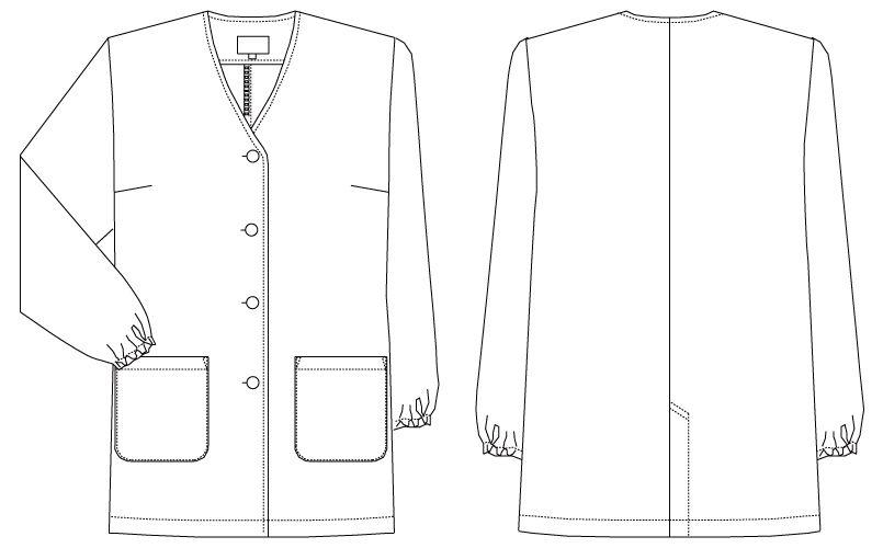 AB-6403 チトセ(アルベ) 白衣/長袖/襟なし(女性用) ハンガーイラスト・線画