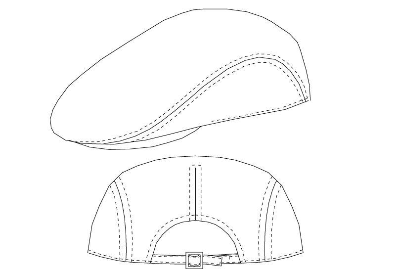 AS-7930 チトセ(アルベ) ハンチング帽(男女兼用) ハンガーイラスト・線画