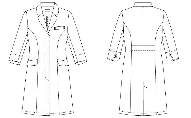 MK-0012 ミッシェルクラン(MICHEL KLEIN) ドクターコート(女性用) ハンガーイラスト・線画