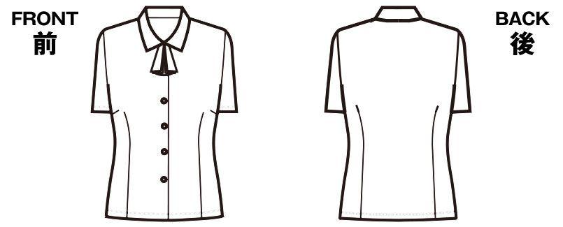 FB7086 nuovo(ヌーヴォ) 半袖ブラウス リボン付 FDミニダイヤ ハンガーイラスト・線画