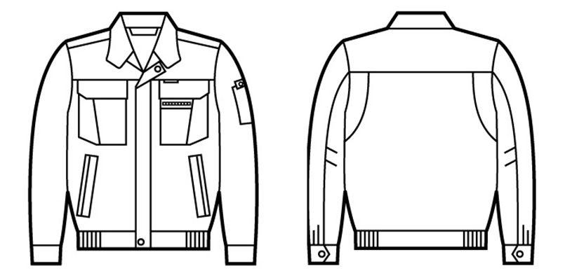 42000 自重堂 制電長袖ブルゾン ハンガーイラスト・線画