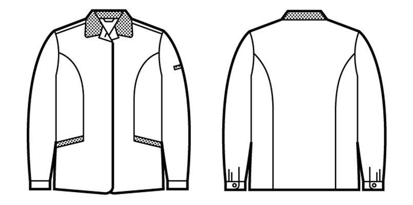 43805 自重堂 エコ 5バリュー スモック(製品制電JIS T8118適合) ハンガーイラスト・線画