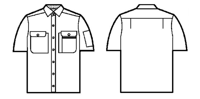 自重堂 44114 [春夏用]製品制電半袖シャツ(JIS T8118適合) ハンガーイラスト・線画