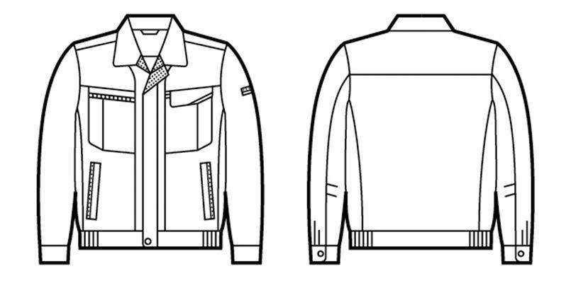 自重堂 47800 エコ 5バリュー 長袖ブルゾン(JIS T8118適合) ハンガーイラスト・線画