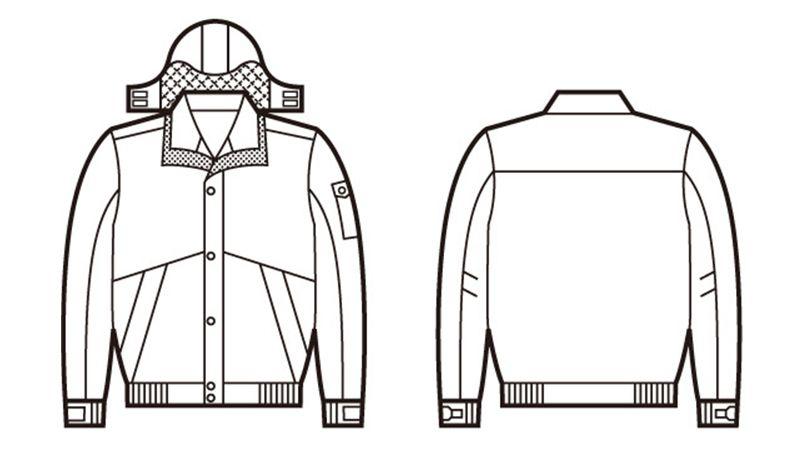 自重堂 48230 シンサレート防水防寒ブルゾン(フード付き・取り外し可能) ハンガーイラスト・線画