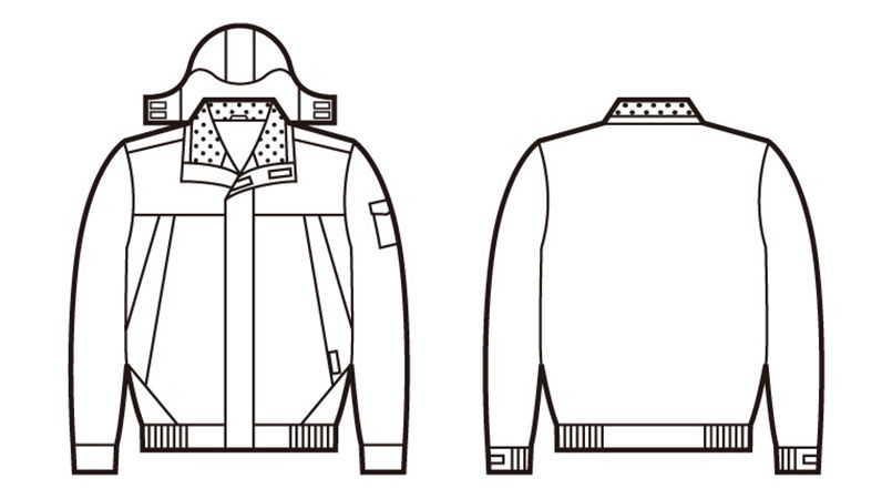 48430 自重堂 防水防寒ブルゾン(フード付・取り外し可能) ハンガーイラスト・線画