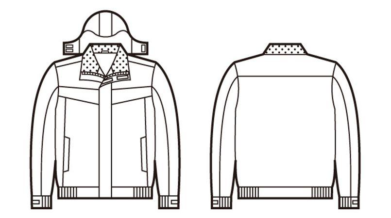 48460 自重堂 防水防寒ブルゾン(フード付き・取り外し可能) ハンガーイラスト・線画