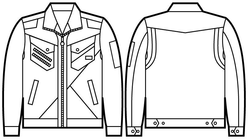 52300 自重堂JAWIN ジャンパー(新庄モデル) ハンガーイラスト・線画