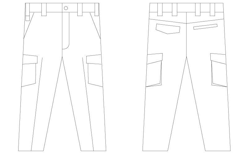 自重堂 56202 [春夏用]JAWIN ノータックカーゴパンツ(新庄モデル) ハンガーイラスト・線画