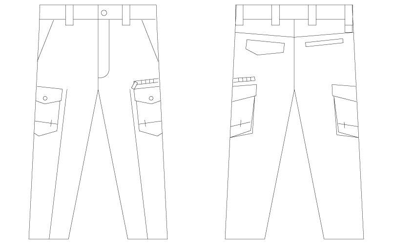 自重堂Z-DRAGON 75202 [春夏用]ノータックカーゴパンツ(男性用) ハンガーイラスト・線画