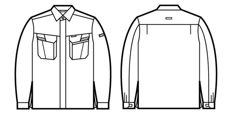 自重堂 85604 製品制電ストレッチ 長袖シャツ(JIS T8118適合) ハンガーイラスト・線画
