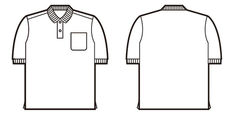 自重堂 85814 半袖ドライポロシャツ(男女兼用)(胸ポケット有り) ハンガーイラスト・線画