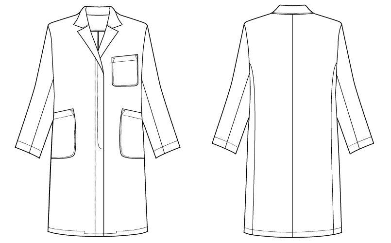 自重堂WHISEL WH10203 レディースシングルコート(女性用) ハンガーイラスト・線画