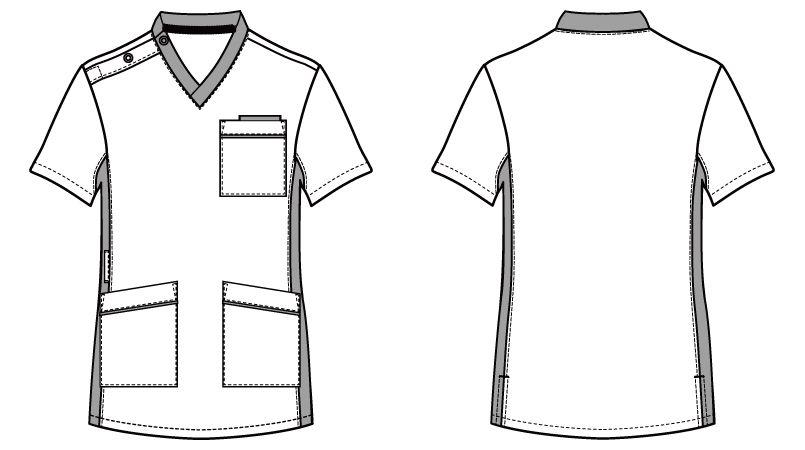 自重堂WHISEL WH11685 スクラブ(男女兼用)衿と脇が配色 ハンガーイラスト・線画